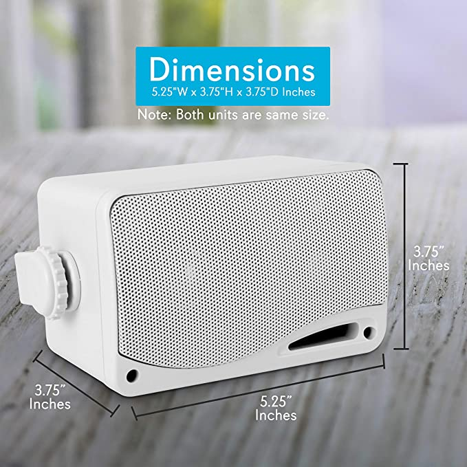 "Pyle 3Way Weatherproof Mini Box Outdoor Marine Car Speaker Audio 3.5/"" 200W White"