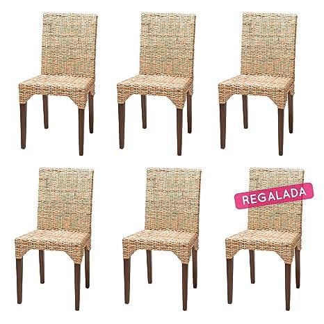 Rotin Design Rebajas : -51% Lote 6 sillas de ratán (kubu) Modernas