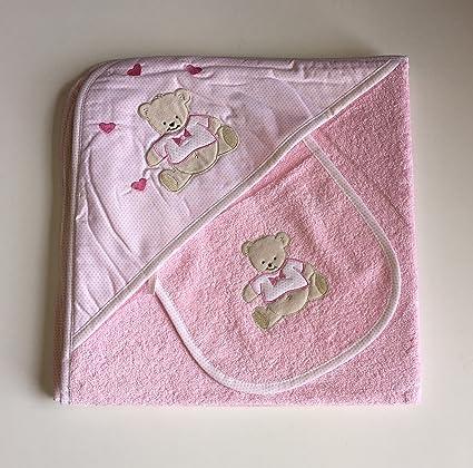 Baby Cuddle toalla y babero, diseño de oso, color rosa, rizo para bebé