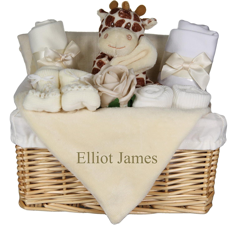 Cute Giraffe Hamper Gift Basket with Personalised Giraffe Comforter Blankie Baby Shower Present Tiny Togs Ltd