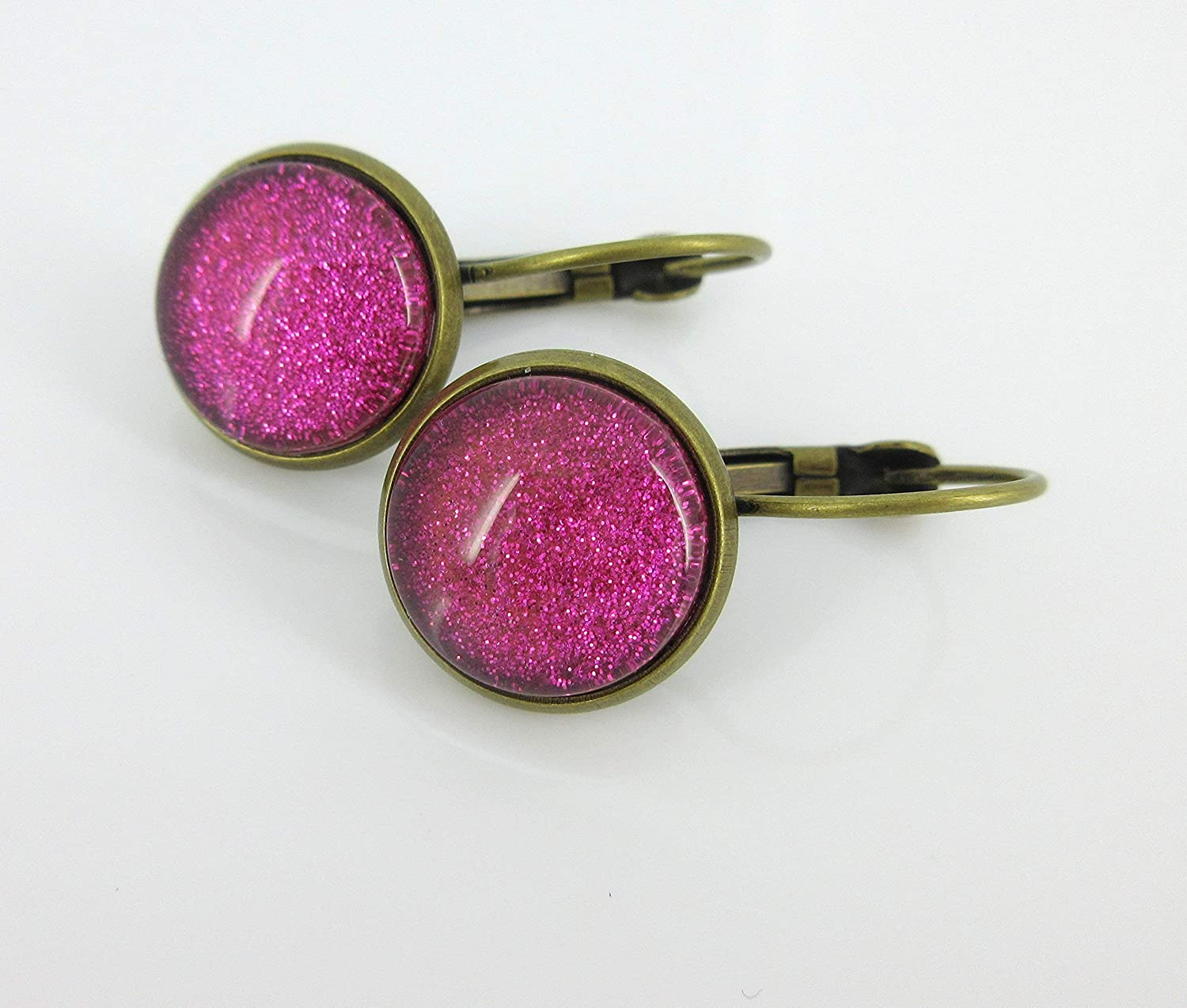 Antiqued Gold-tone Black and Pink Flower Print Glass Stud Earrings 12mm