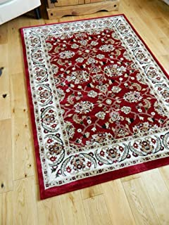 SMALL- XX LARGE RED BORDER TRADITIONAL CLASSIC THICK LUXURY SOFT WOOL-LOOK, PERSIAN