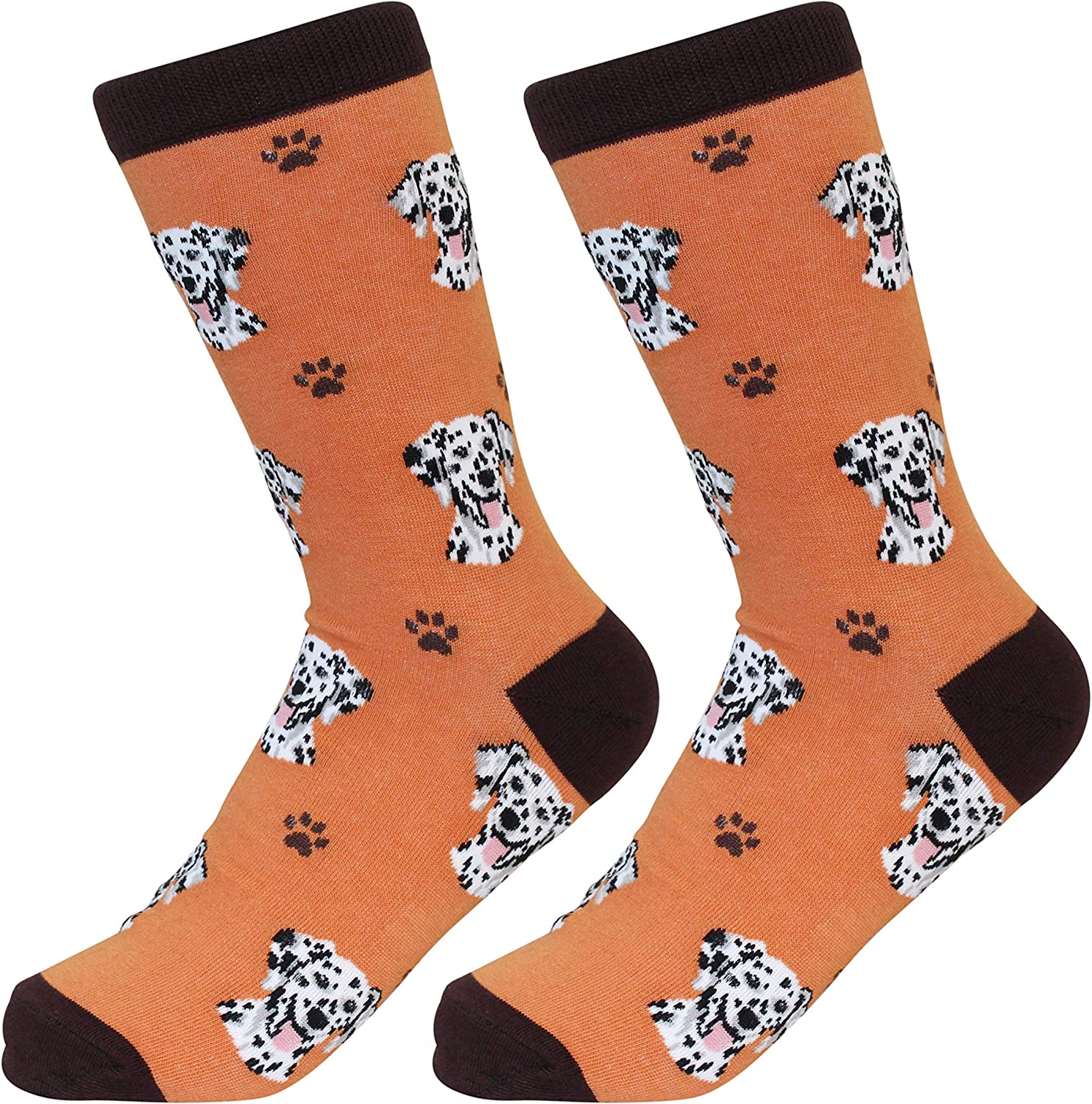 High Quality Cotton Gray Dalmatian Dog Funny Crew Socks For Men// Lady One SIZE