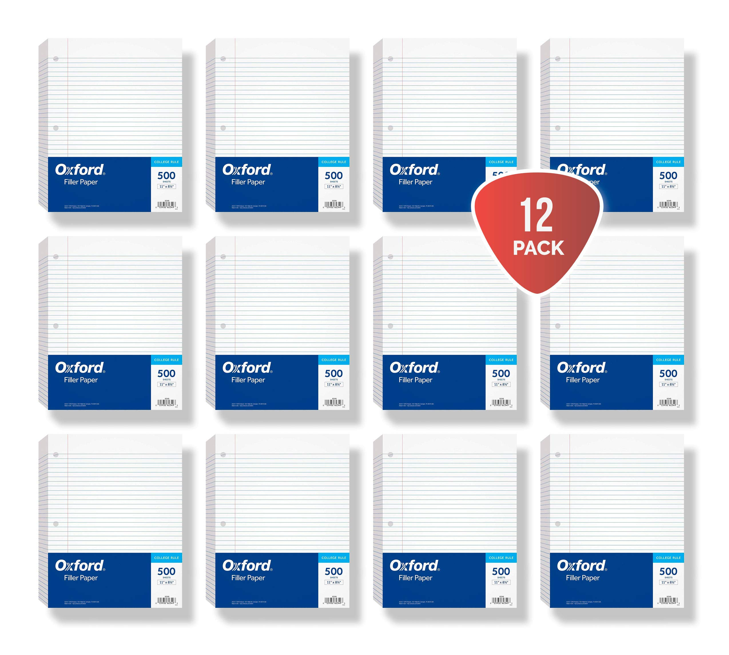 Oxford Filler Paper, 8-1/2'' x 11'', College Rule, 3-Hole Punched, Loose-Leaf Paper for 3-Ring Binders, 500 Sheets Per Pack (62349) 12-PACK by Oxford