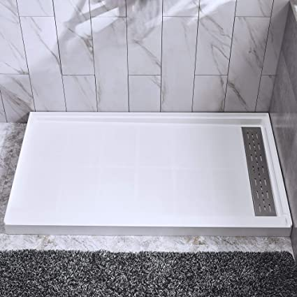 Stainless Steel Shower Floor Pan.Woodbridge Solid Surface Shower Base 60 X 36 With Recessed Trench Side Including Stainless Steel Linear Drain Cover Sbr6036 1000 R White