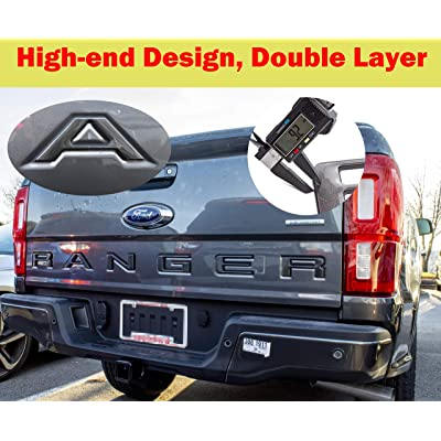 AUTO PRO ACCESSORIES Tailgate Insert Letters Fits 2020-2020 Ford Ranger, Not Decals Double Layer Emblems (Gray with Black Outline): Automotive