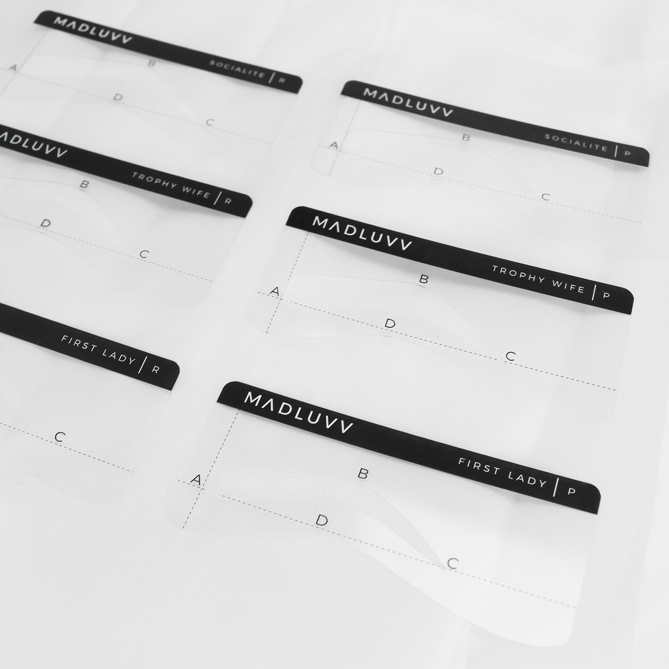 Best Eyebrow Shaping Stencil Kit, Set of 6 Plastic Reusable Stencils for Semi Permanent Microblading Tattoo & Makeup Artists, Draw & Shape Thicker and Fuller Brows with Eyeliner Pencil & Micro Blades