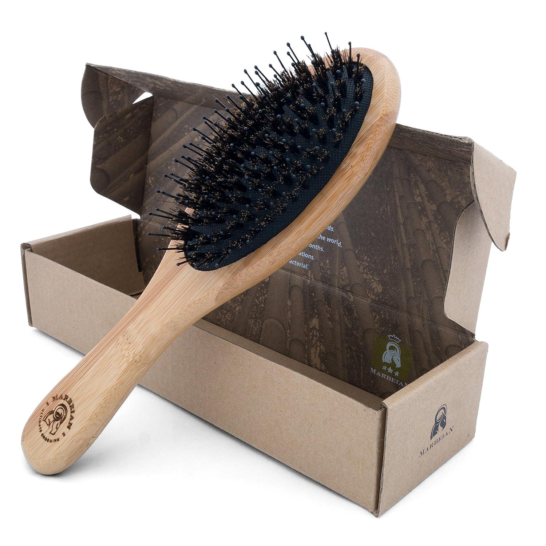 Cepillo para el pelo de bambú y cerdas de jabalí con alfileres para desenredar por solo 15,97€