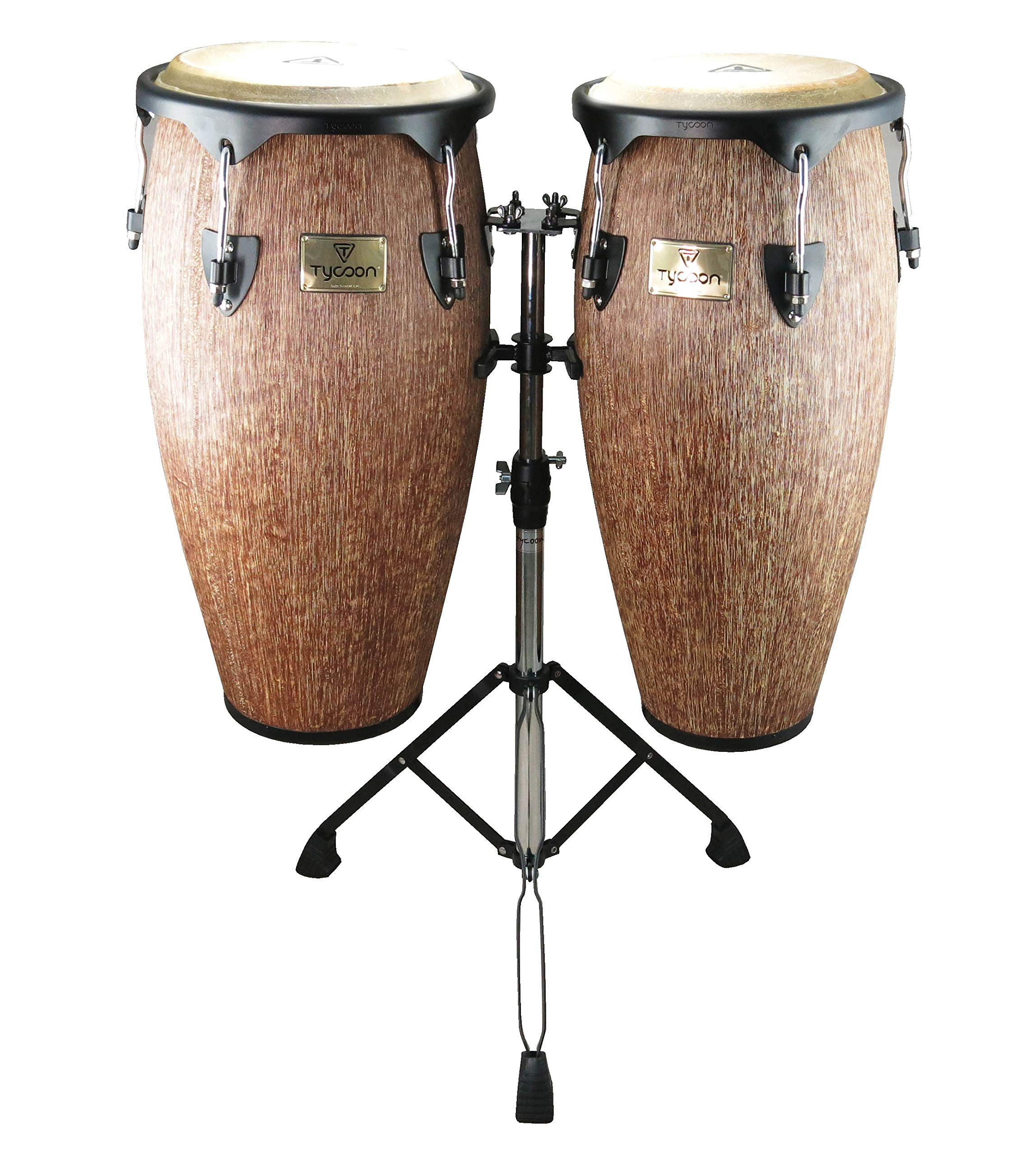 Tycoon Percussion STCS-B IP/D 10 and 11 Inches Supremo Series Conga with Double Stand, Island Palm Finish