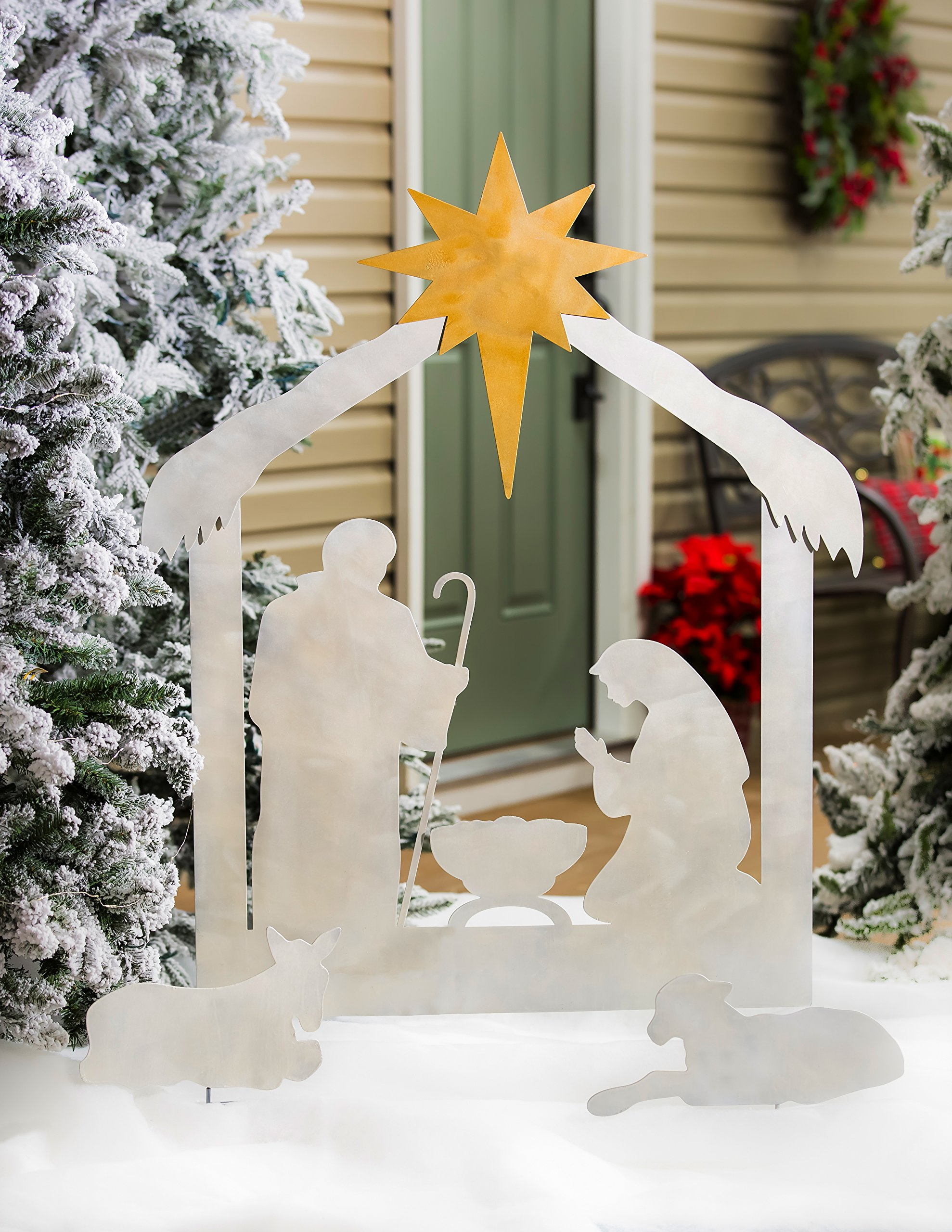 New Creative Christmas Nativity Scene, Laser Cut Metal Yard Décor