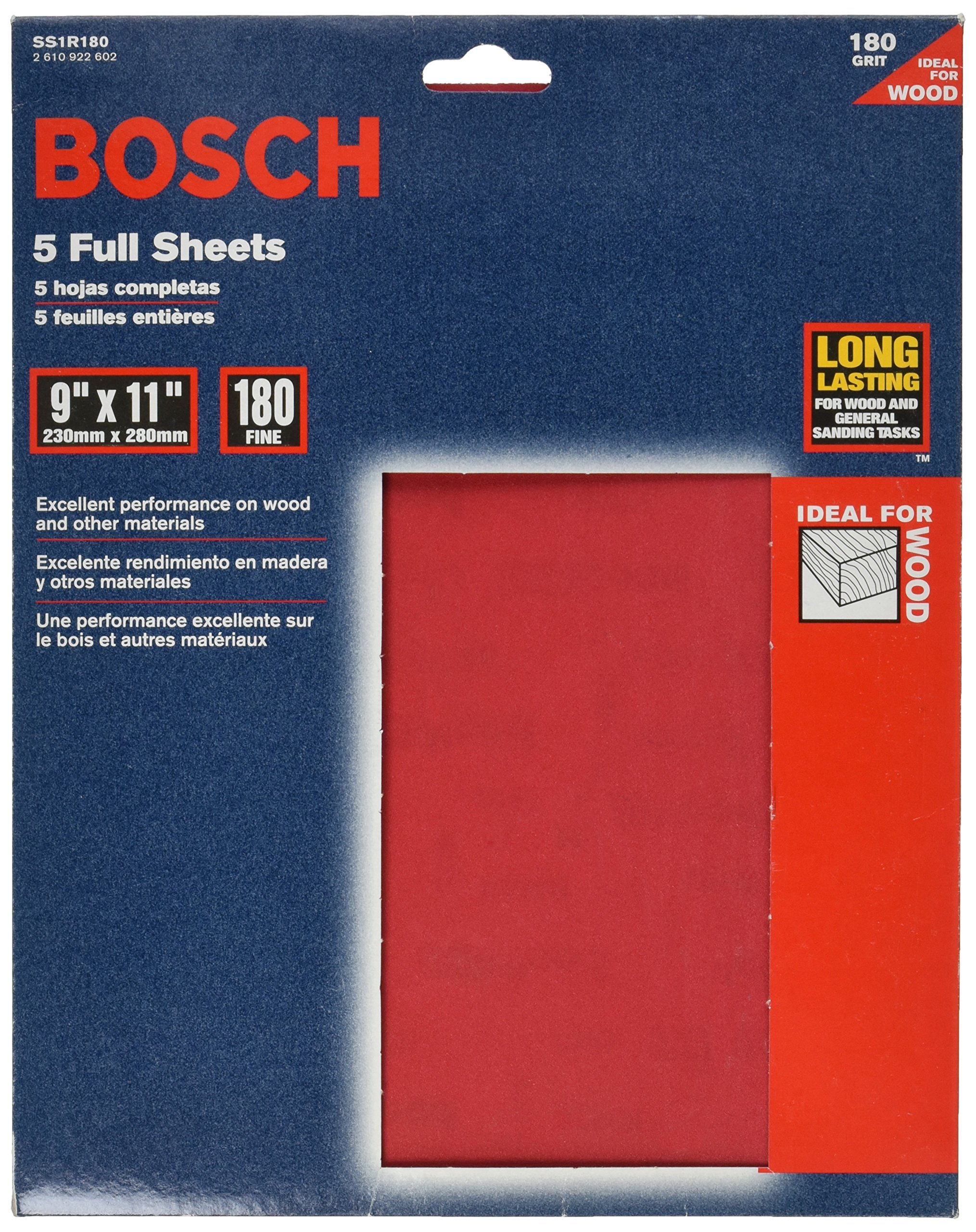 Bosch SS1R180 5-Piece 180 Grit 9 In. x 11 In. General-Purpose Sanding Sheets