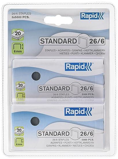 26fa69a6a9 Rapid, graffette per spillatrice, 26 graffette, 6 mm, per graffettare fino  a 20 fogli Filo zincato 15000 Agrafes: Amazon.it: Cancelleria e prodotti  per ...