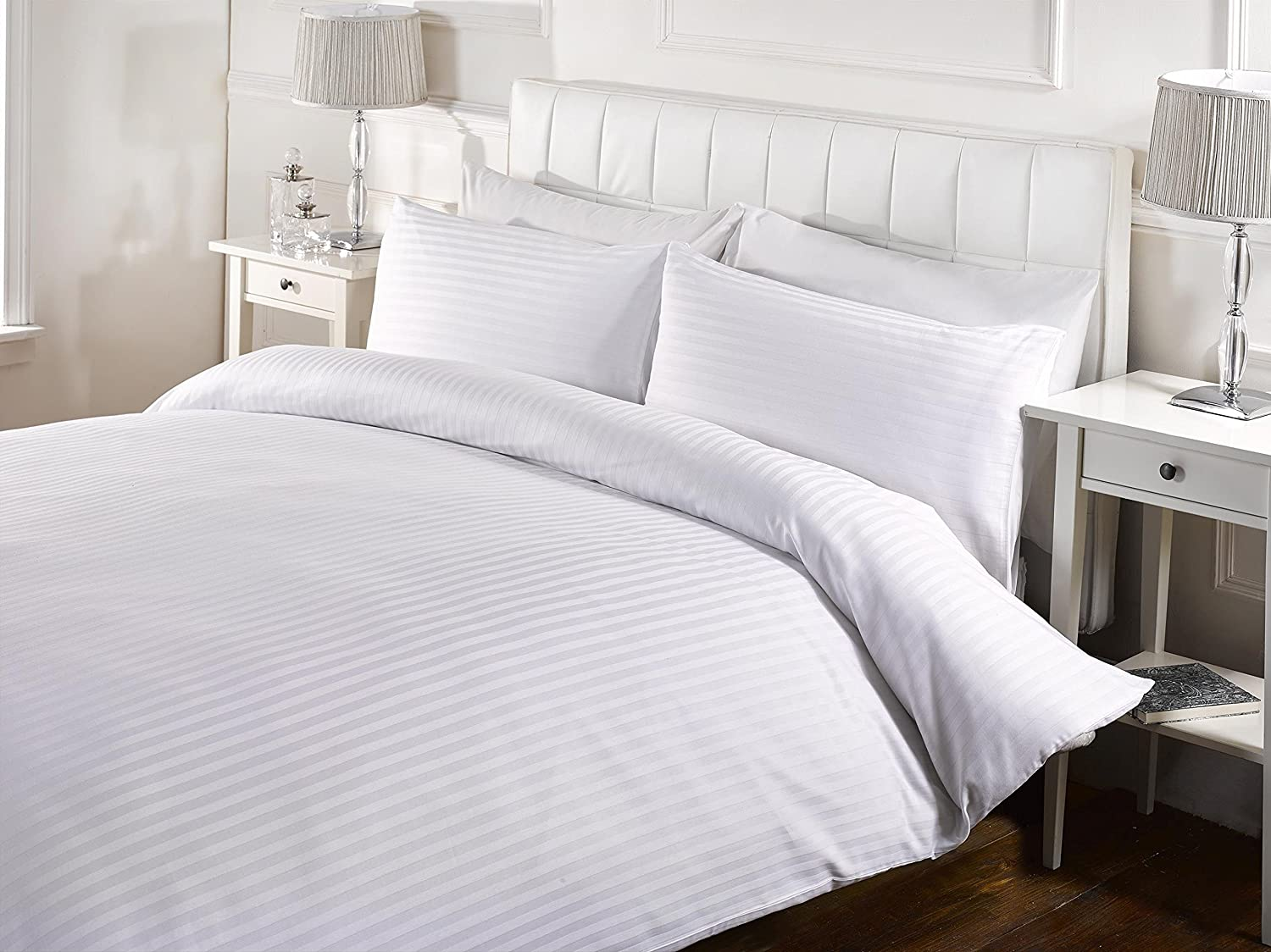 5 Piece Duvet Cover Set Striped With Zipper & Corner Ties 600 Thread Count 100% Egyptian Cotton Hypoallergenic (1 Duvet Cover 4 Pillow Shams) ( Cal King / King, White ) by Kotton Culture