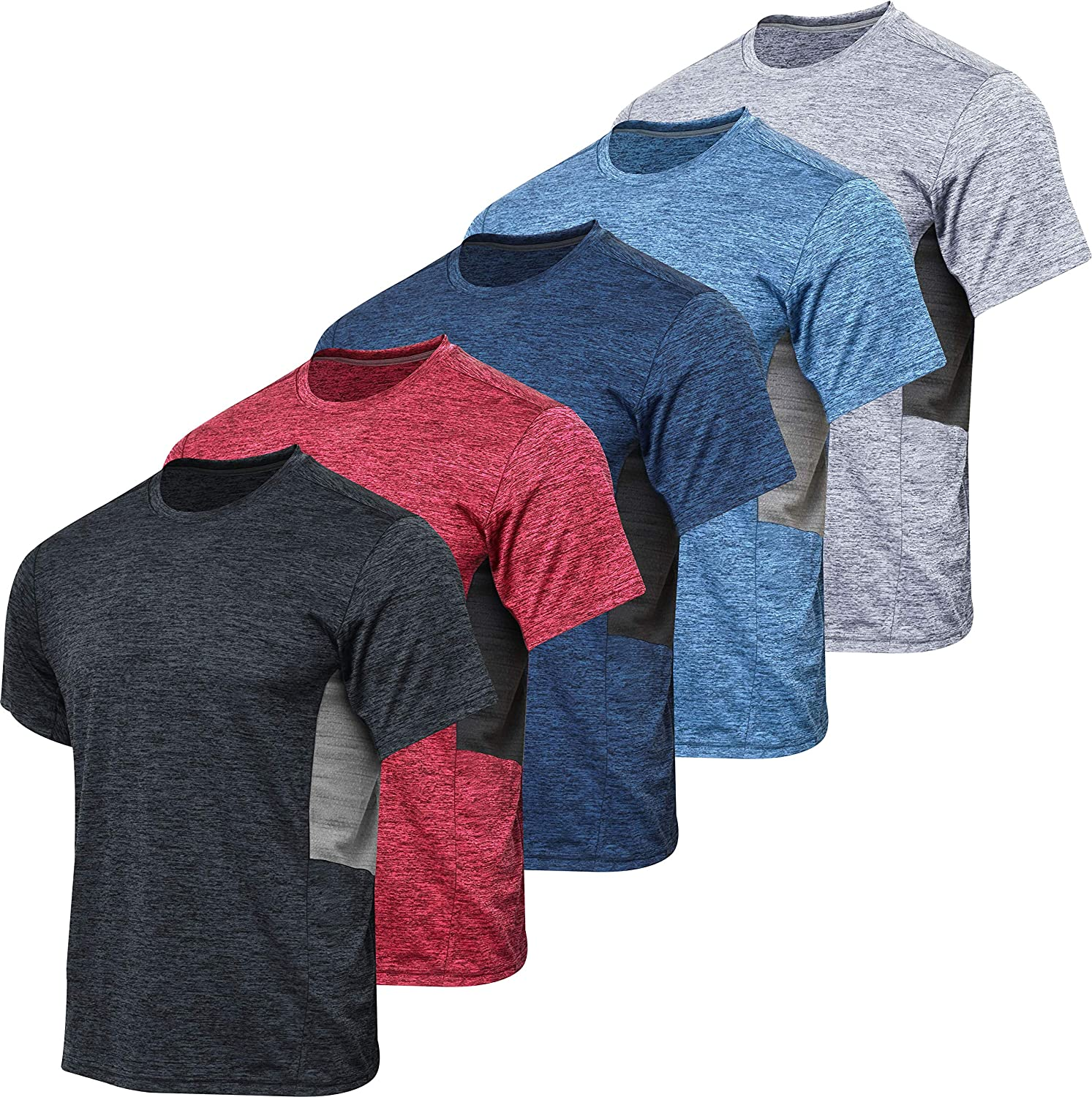 5 Pack: Men's Dry-Fit Moisture Wicking Active Athletic Performance Crew T-Shirt