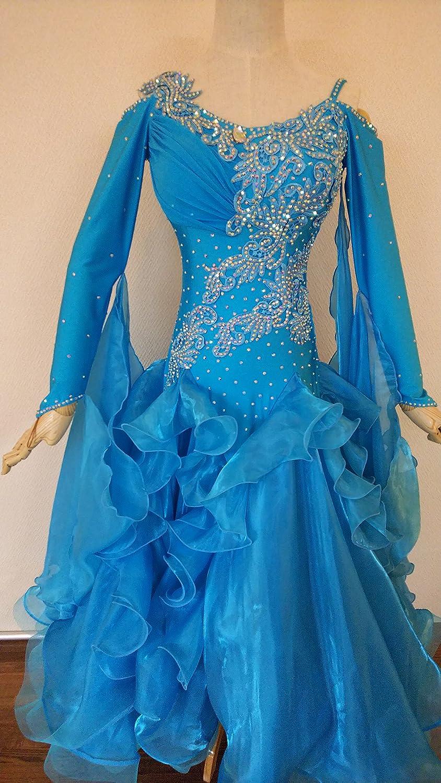 社交ダンスドレス スタンダード用ブルー3 M-Lサイズ B079Y98MNR