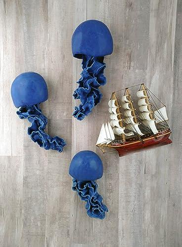 Amazon.com: Jellyfish ceramic wall sculpture set of 3. Floating ...