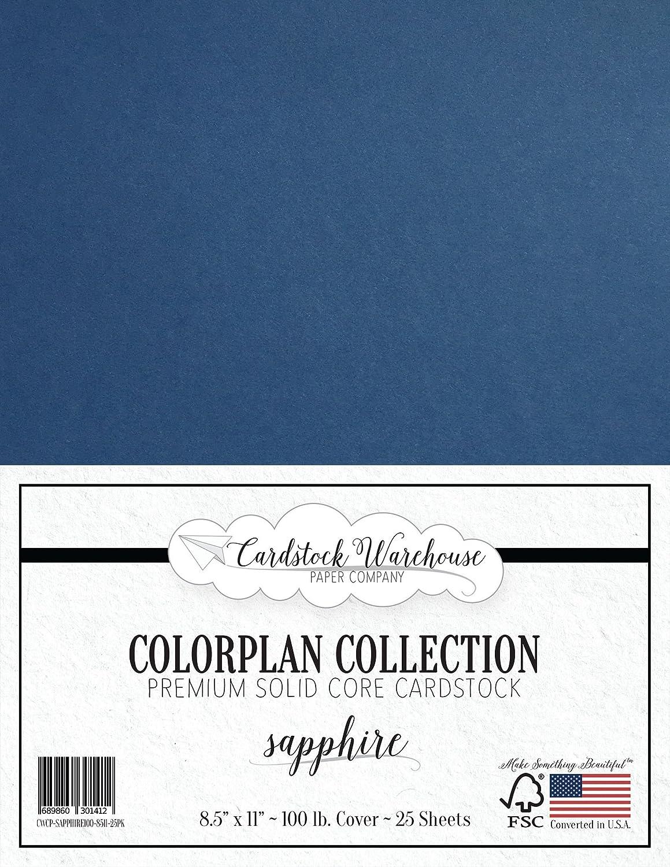 サファイアブルー厚紙 8.5 x 11インチ プレミアム100ポンド カバー - Cardstock Warehouse 25枚 B01MXMBQN7