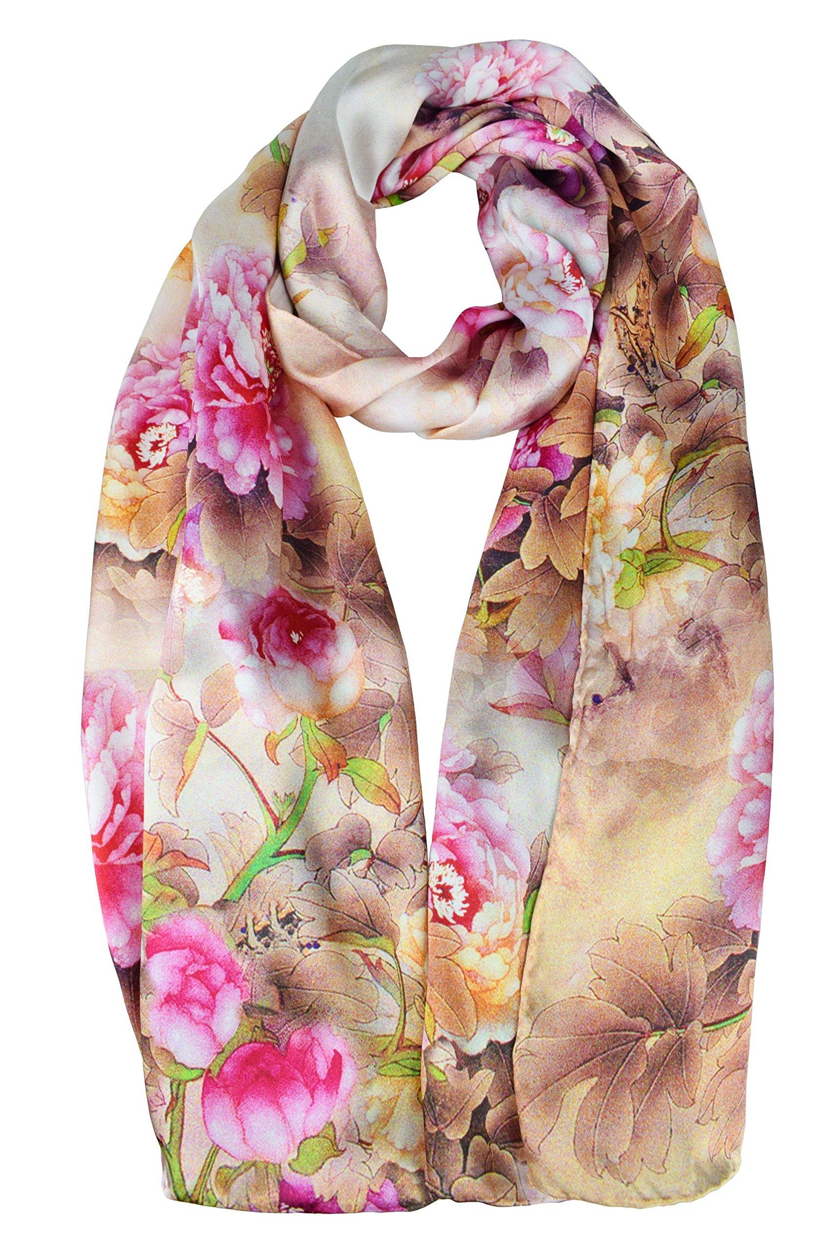 ELEGNA Women's 100% Silk Flower Painting Long Scarf Shawl (Pink Peony)