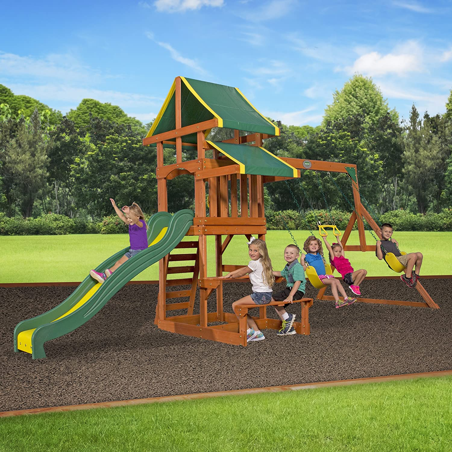Amazoncom Backyard Discovery Tucson All Cedar Wood Playset Swing - Backyard playground equipment