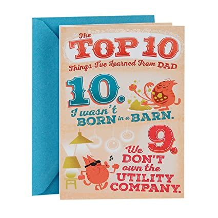 Amazon hallmark funny fathers day greeting card for dad top hallmark funny fathers day greeting card for dad top 10 things ive learned m4hsunfo