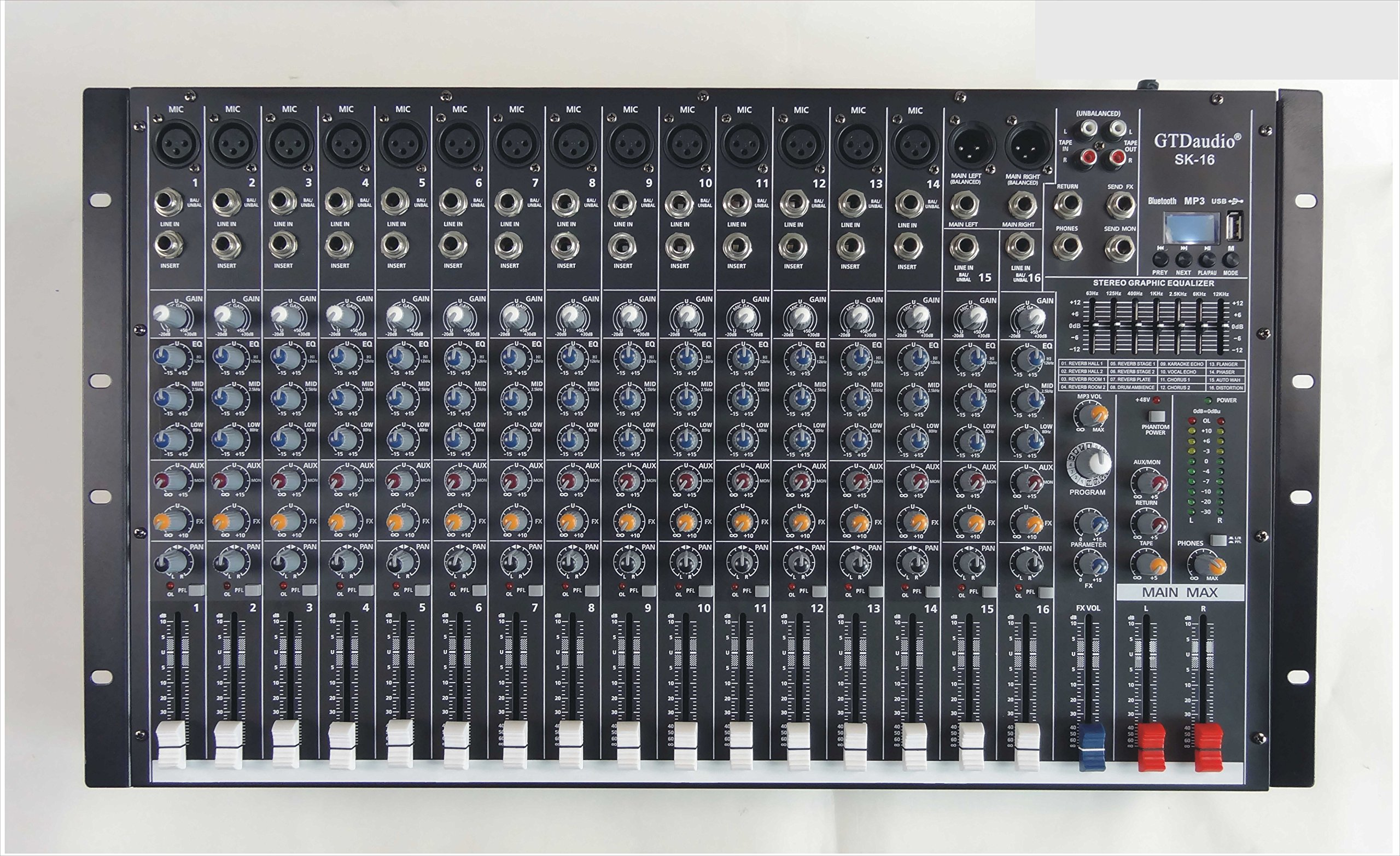 GTD-Audio 16 Channel 4000Watt Professional Powered Mixer Amplifier (1000 Watt RMS )
