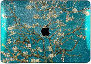 "Cavka Hard Glitter Case for Apple MacBook Pro 13"" 2019 Retina 15"" Mac Air 11"" Mac 12"" Bling Almond Tree in Blossom Sparkly Floral Shiny Rose Gold Silver Cover Glossy Design Vincen Van Gogh Nice Print"