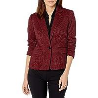 NINE WEST Womens 10733544 1 Button Notch Collar Knit Jacquard Ponte Jacket Blazer - red