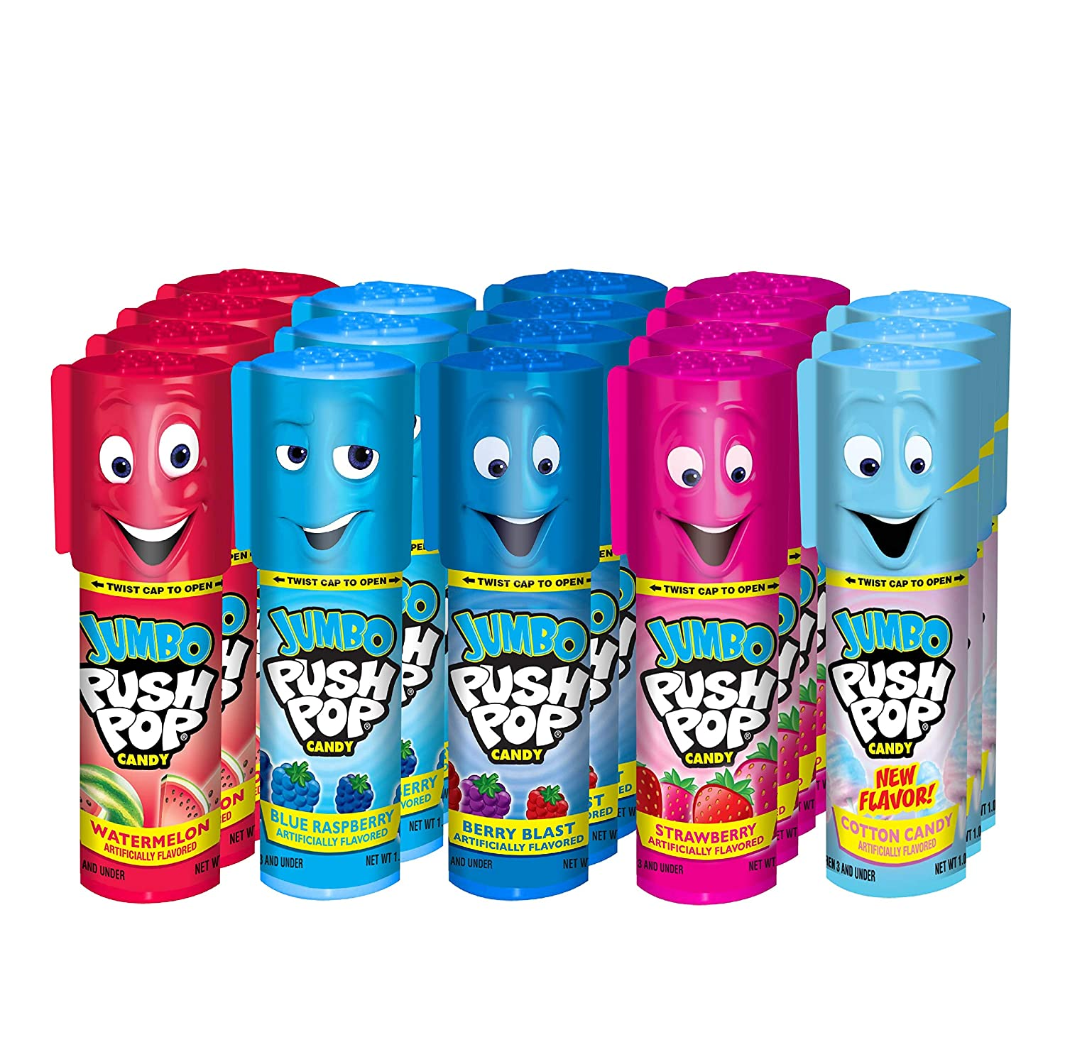 Push Pop Jumbo Candy Assortment Bulk 18 Pack – Blue Raspberry, Watermelon, Strawberry, Cotton Candy and Mystery Flavors, 1.06 Ounce (Pack of 1) (626-9LE)