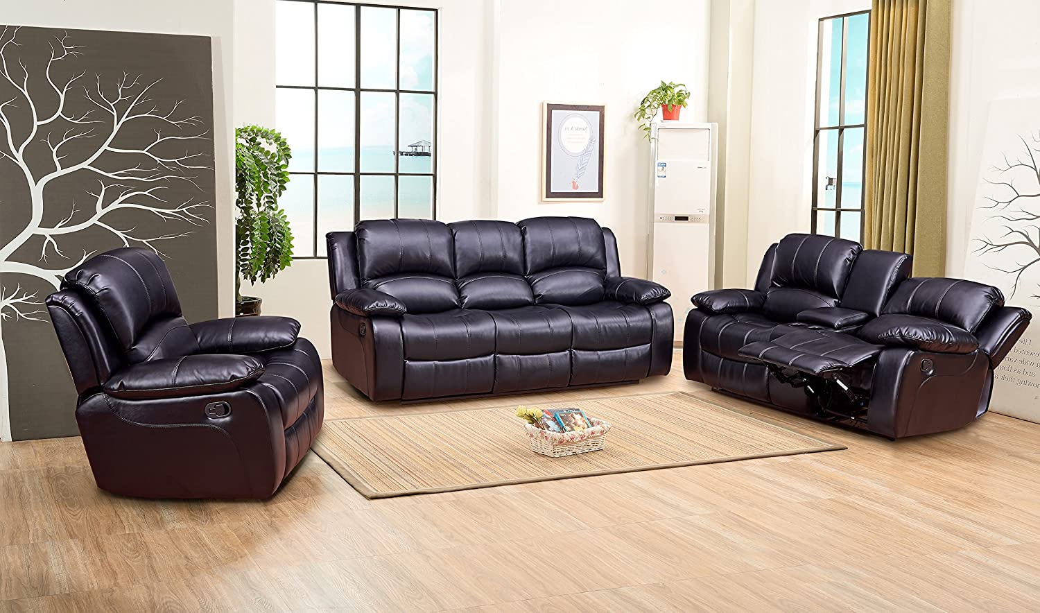Living Room Set in Black, Sofa + Loveseat + Chair, Pillow Top Backrest and Armrests