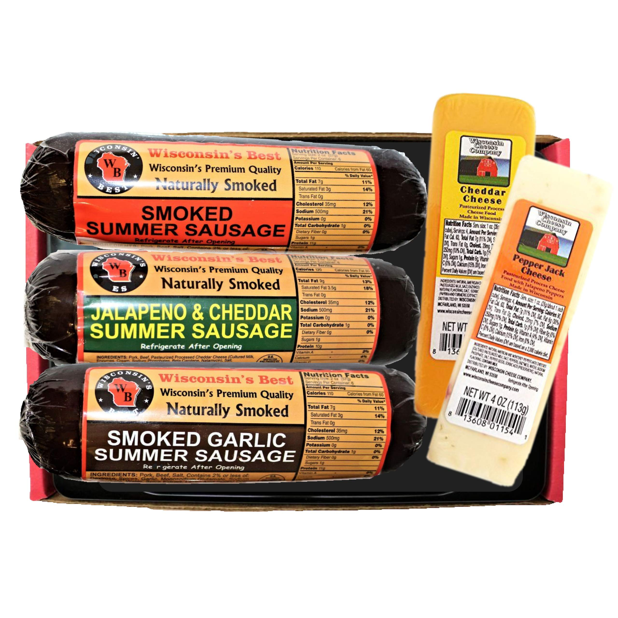 Gourmet Variety Sampler Gift Basket - Smoked Summer Sausages & 100% Wisconsin Cheeses - GLUTEN-FREE - Perfect Cheese and Sausage Snack!! by WISCONSIN'S BEST and WISCONSIN CHEESE COMPANY (Image #1)