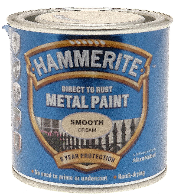 Hammerite ICI 5122058 HM 250ml Smooth Metal Paint - Cream: Amazon.co ...