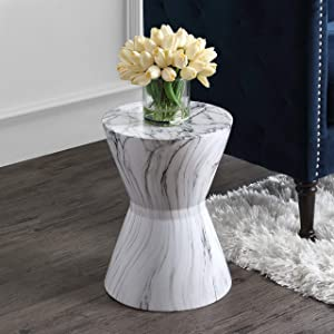 "African Drum 17.3"" White Marble Finish Ceramic Garden Stool Glam Mid-Century Modern Contemporary Glossy"
