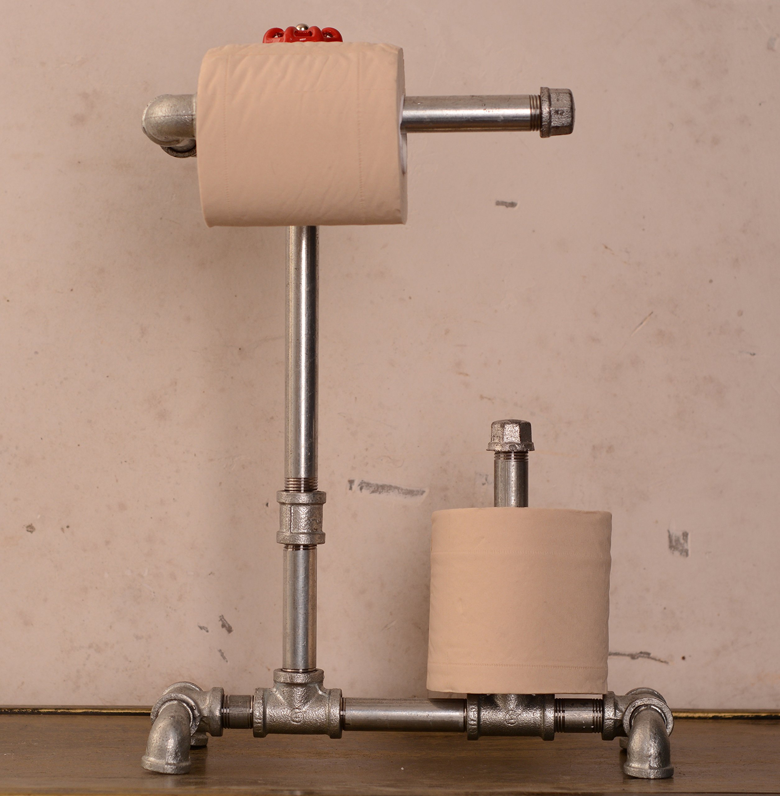 Industrial Pipe Standing Toilet Paper Holder for Two Perfect for Modern, Minimalist, Rustic, Steampunk, and Industrial Furniture 3