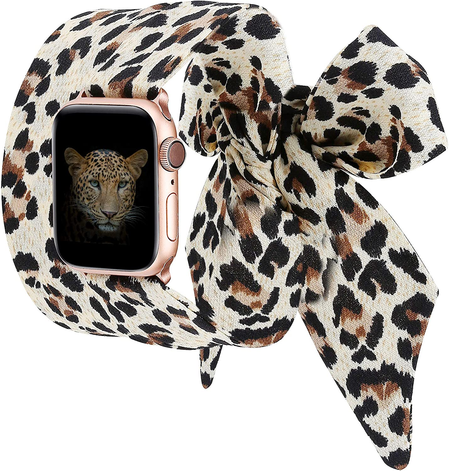 Wearlizer Compatible with Apple Watch Bands Scarf 38mm 40mm for iWatch Band Women Girls Fashion Scarf Replacement Wrist Strap for Apple Watch SE Series 6 5 4 3 2 1 - Leopard