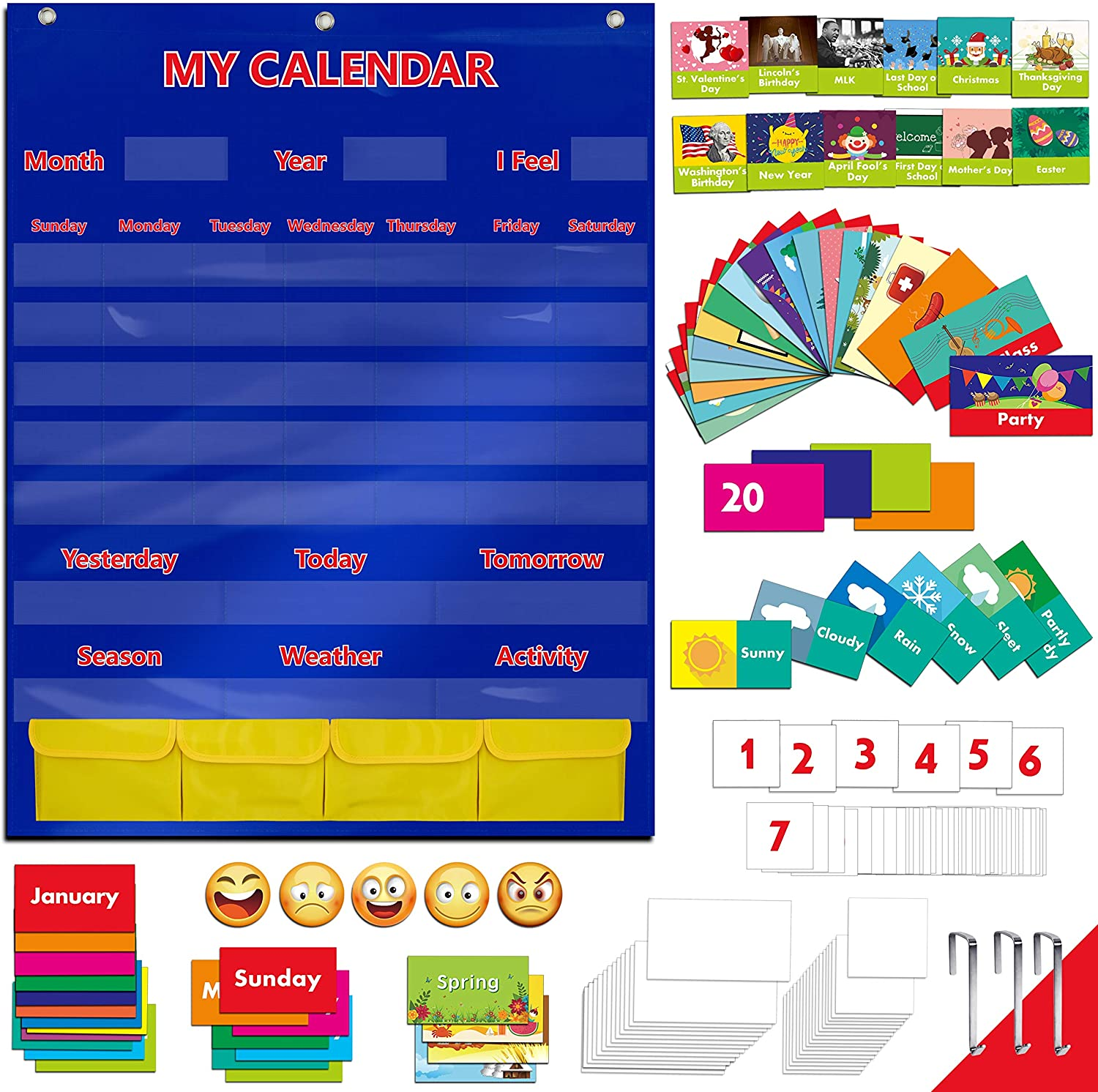 "Calendar and Weather Pocket Chart with 148 Cards,(108 Illustrated Activity Cards, 40 Dry Erasable Flash Cards and 3 Hooks 28"" X 35.5"")"