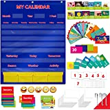 Calendar and Weather Pocket Chart with 148 Cards,(108 Illustrated Activity Cards, 40 Dry Erasable Flash Cards and 3 Hooks 28""