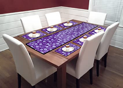 Reliable Trends Table Runners with Placemats for 6 Seater Dining Table (Purple)