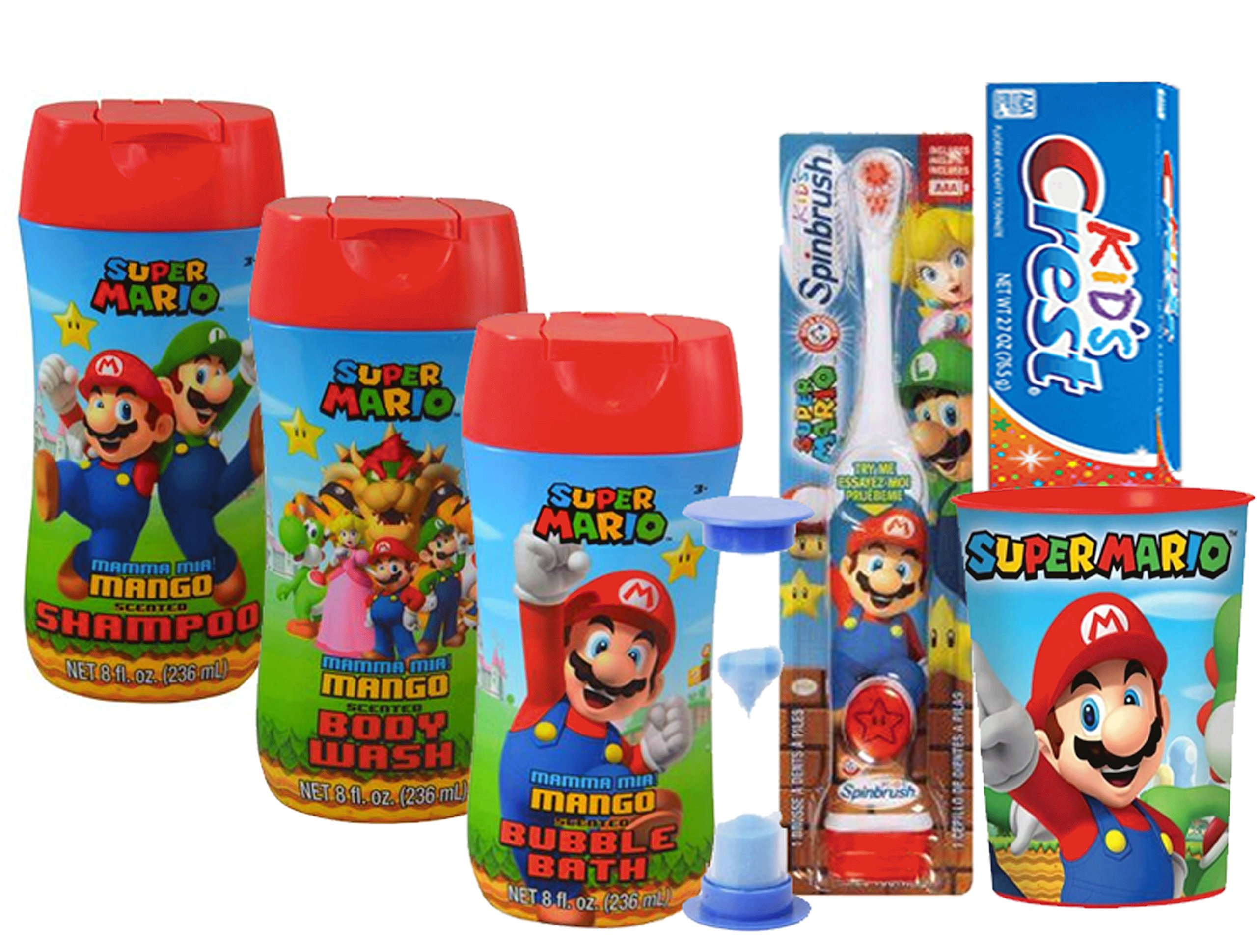 Super Mario Brothers Boys All Inclusive Bath Time Stocking Stuffer Set! Includes Body Wash, Shampoo, Bubble Bath, Toothbrush, Toothpaste, Brushing Timer & Mouthwash Rinse Cup!