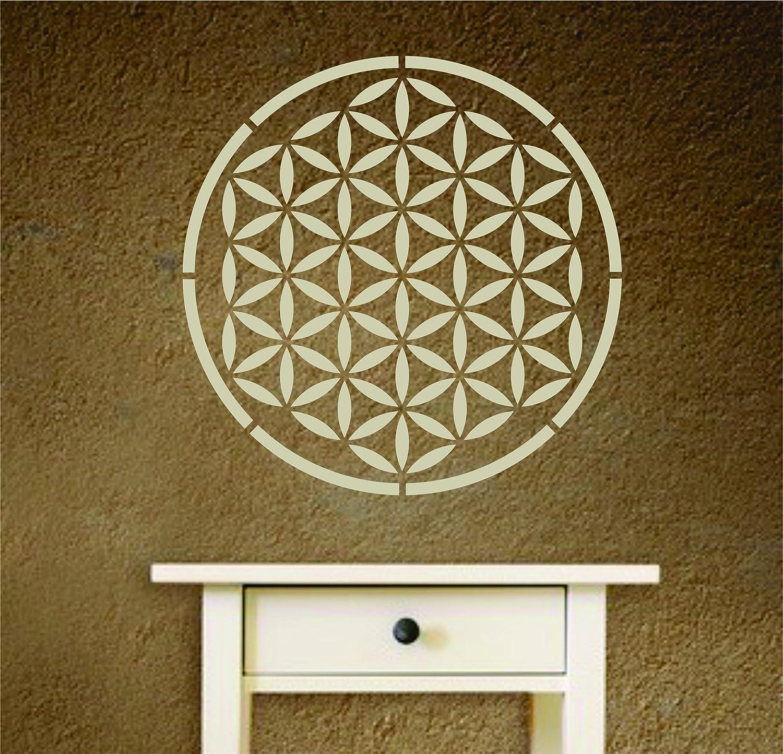 motivo geometria sacra mandala large Stencil a forma di fiore della vita riutilizzabile