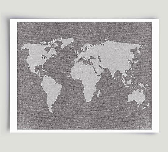 Amazon Com Gray World Map Art Unframed Paper Print Handmade