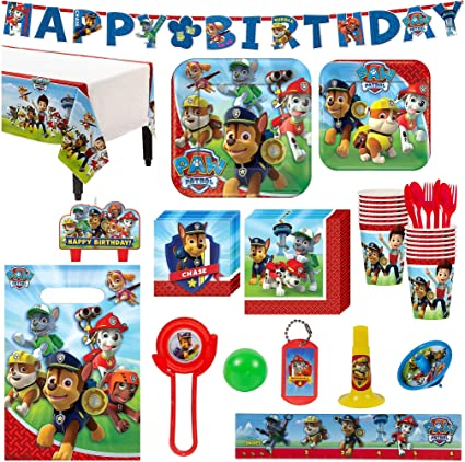 Amazon Paw Patrol Birthday Party Kit Includes Happy Banner And Favor Pack Serves 16 By City Toys Games