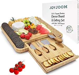 Joyjoom Cheese Board and Knife Set - Premium Bamboo Wood Charcuterie Platter Serving Tray with Cutlery - Perfect for Housewarming, Wedding & Birthday