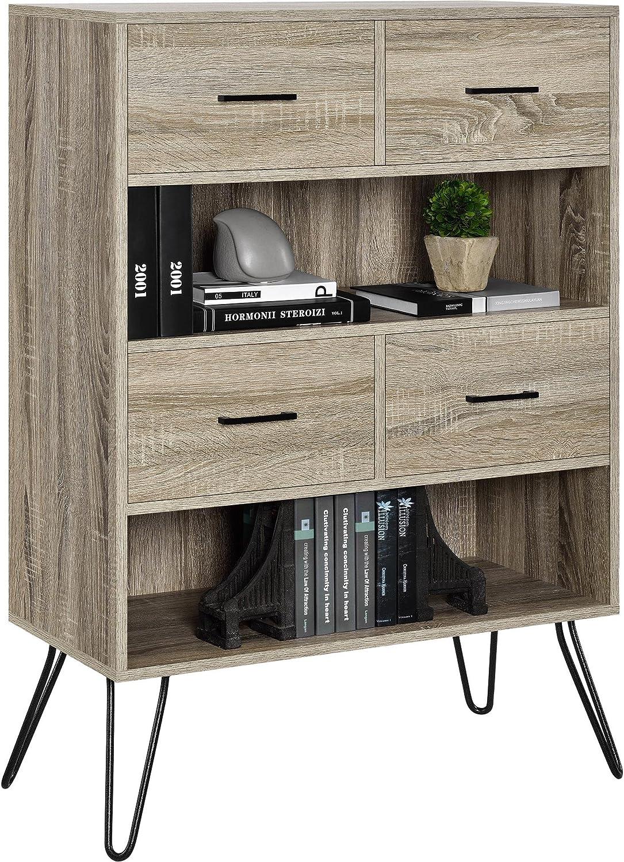Ameriwood Home Landon Bookcase with Bins, Weathered Oak