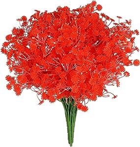 Grand Verde Gypsophila 10 PCS Set Artificial Flowers Baby's Breath Faux Real Touch Bouquets - DIY Table Centerpieces Arrangements Filler Gift Garden Patio Balcony Wedding Party Home Decor (Orange)