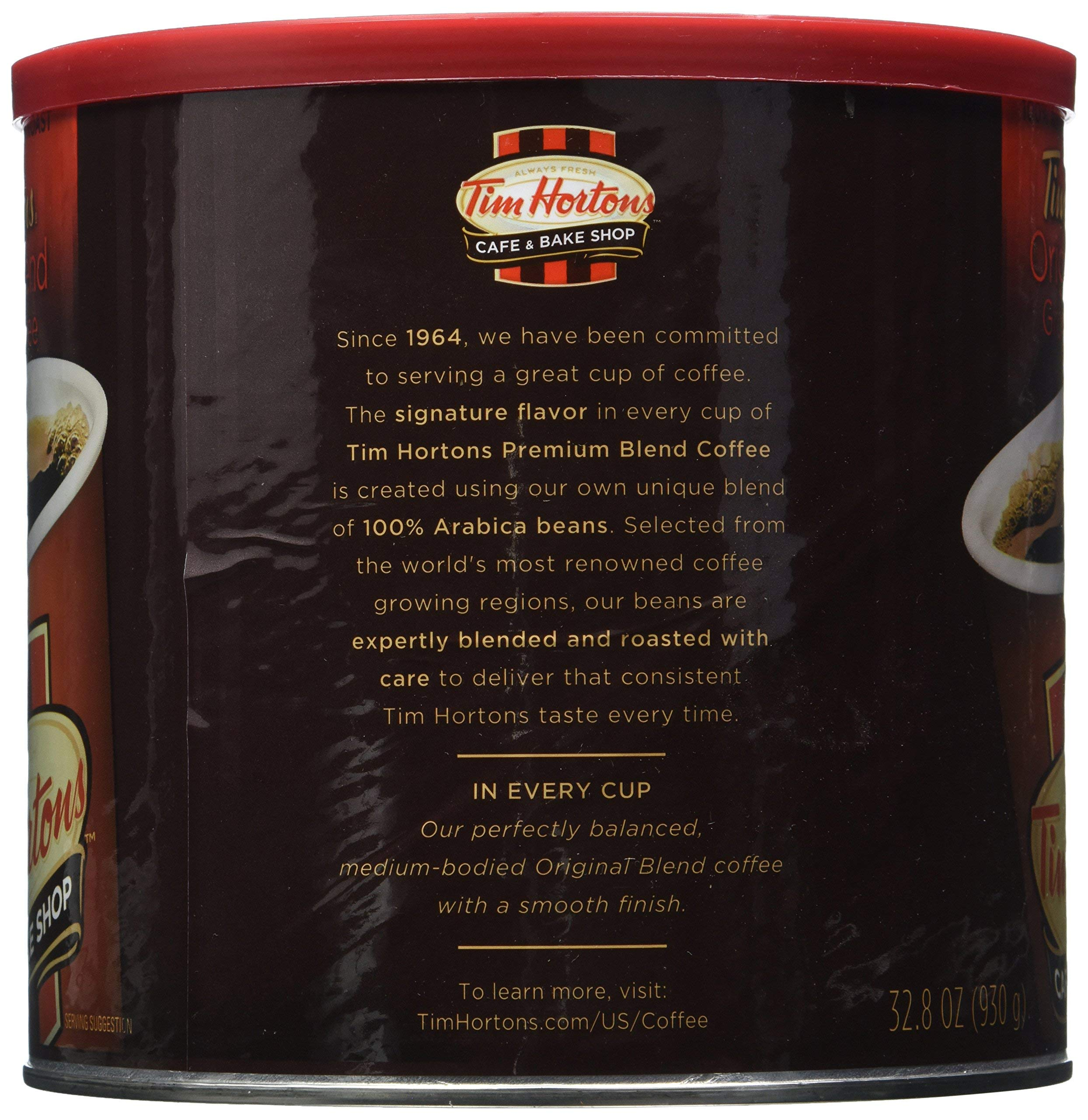Tim Hortons HBRKMMCX 100% Arabica Medium Roast Original Blend Ground Coffee, 32.8 Ounce, Pack of 2 by Tim Hortons (Image #1)