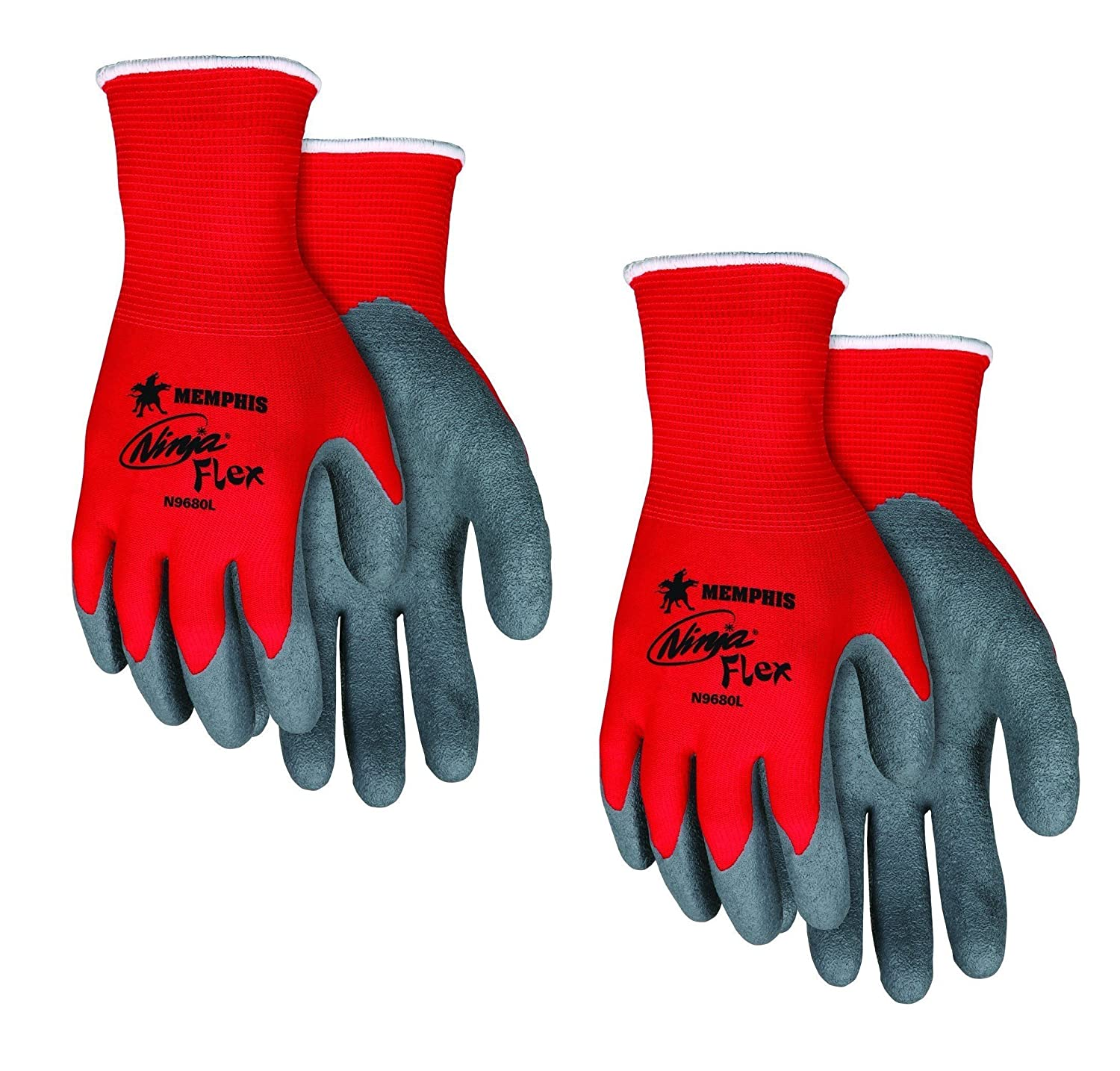 Memphis Glove N9680L Ninja Flex Nylon Shell Gloves with Latex Dip Palm and Fingertips, Gray/Red, Large, 2-Pair