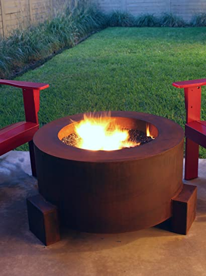 "30"" Round Cor-Ten Steel Glass Media/Lava Rock Firepit with Propane Gas - Amazon.com: 30"