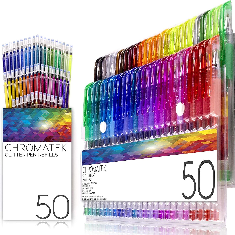 Plumas con purpurina 100 de Chromatek. Los mejores colores. 200% La tinta: 50 plumas de gel, 50 recargas. Super Glittery Ultra Vivid Colors. No se repite. Bolígrafos profesionales de arte.: Amazon.es: Oficina y papelería
