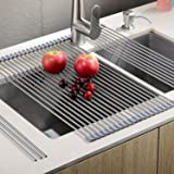"""Sturdy Extra Large Multipurpose -No Occupying Space Easily Store Heat Resistant Roll Up Dish Drying Rack --Fit for Stainless Steel Sink(20.8"""" x 18.1"""",Warm Gray)"""