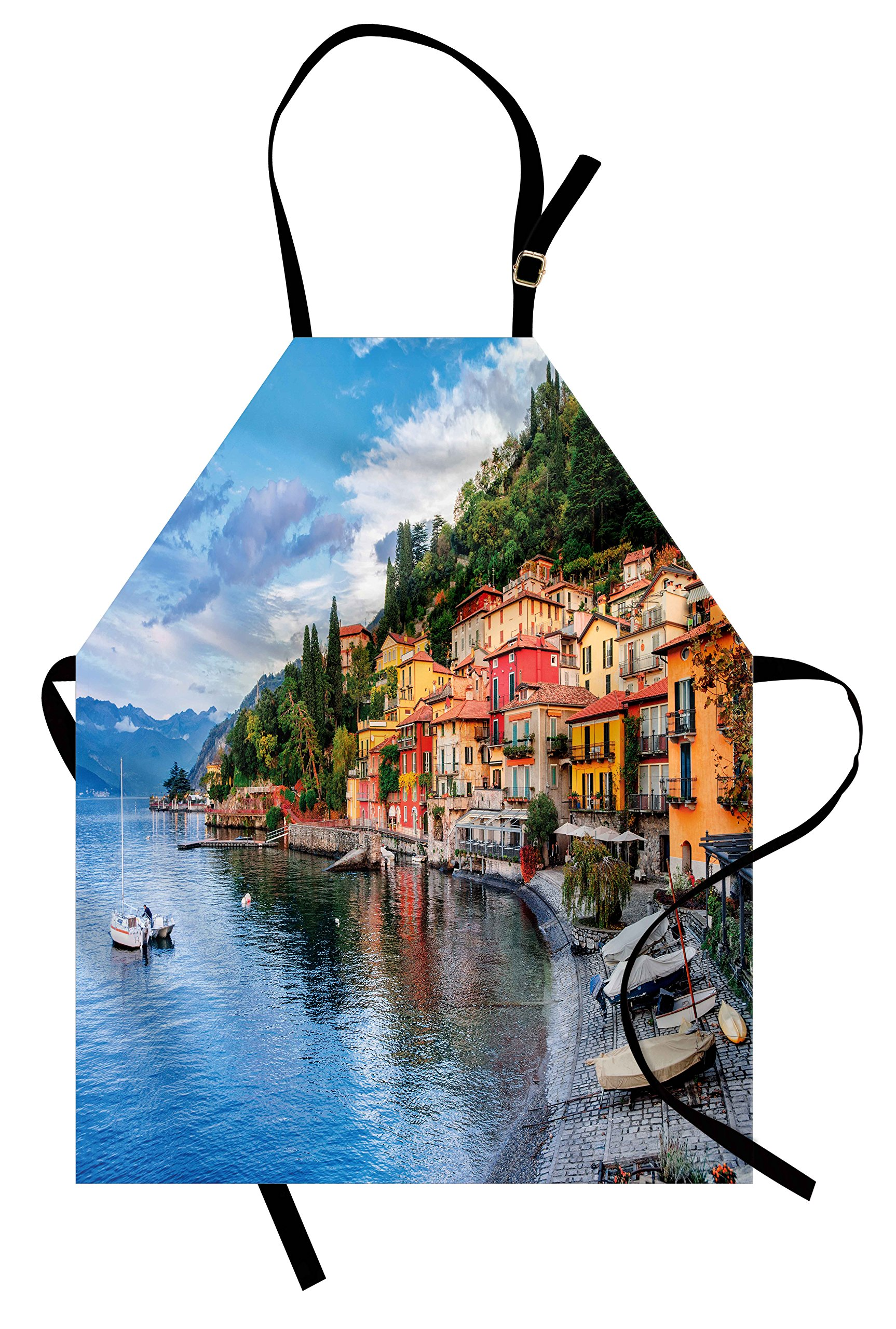 Ambesonne Italian Apron, Summer Village by the Mediterranean Sea with Yacht Boats Idyllic Town Panorama, Unisex Kitchen Bib Apron with Adjustable Neck for Cooking Baking Gardening, Multicolor